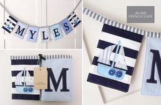 Boy's Custom Personalised padded name bunting in Navy, Blue, Aqua and White with Sail Boat motifs.