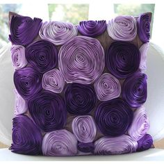 Handmade Purple Accent Pillows, Silk Throw Pillows Cover, Square Ribbon Purple Flower Pillows Cover Home Living Deco – Violet Blooms – orange accent pillow Purple Couch, Purple Throw Pillows, Accent Pillows, Purple Art, Purple Flowers, Light Purple, Purple Ribbon, Purple Satin, Patchwork Quilting