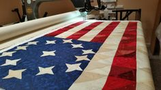 Quilted Scrappy American flag wall hanging