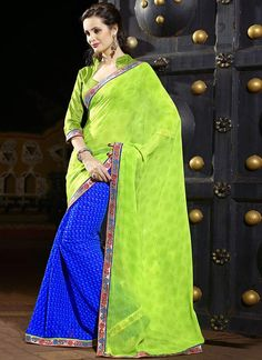 Blue N Green Half N Half Saree