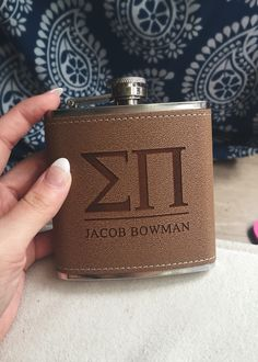 Eeeppp || 2015 sigma pi fraternity personalized leather engraved flask from etsy! (click picture for link) ||