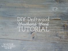 "DIY Driftwood: Weathered Grey Wood Finish Tutorial. The ""comment"" about making your own stain out of a steel wool pad and vinegar is worth trying."