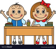 Cartoon children sitting at school desk vector image on VectorStock Douglas Wood, Wood Storage Cabinets, Kids Math Worksheets, School Desks, Book Drawing, Rico Design, Rainbow Crafts, Baby Shower Cards, Math For Kids