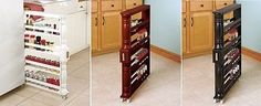 Kitchen Storage Rack Slim Tall Spice Canned Goods Rolling Space Saver Wooden NEW
