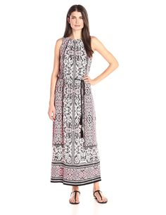 London Times Women's Sleeveless Printed Blouson Maxi Dress with Tassel Self Tie Belt >>> Review more details here : Dresses for women