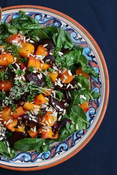 Roasted Squash Beetroot Spinach Salad