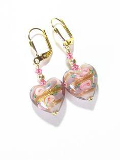 Murano Glass Pink Roses Heart Gold Earrings, Clip On Earrings, Lampwork Glass Earrings
