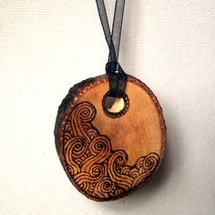 Tree branch Necklace with pyrography (wood burning) swirls. Wood Pendant Hand Made. Natural edge, Pyrography, Handmade, Rustic necklace