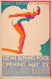 an art deco style poster shwoing a woman in a bathing costume and cap in a dive position