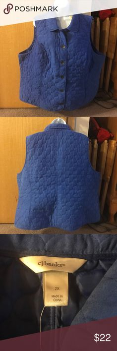CJ Banks Vest, Size 2X, Blue, NWT This vest is brand new with tags.  It is 100% polyester and machine wash. CJ Banks Jackets & Coats Vests