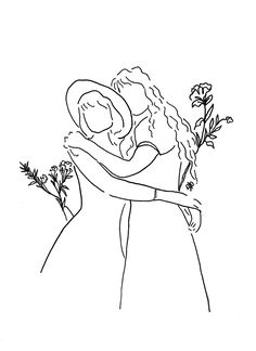 Outline Art, Outline Drawings, Art Drawings Sketches, Easy Drawings, Art And Illustration, Minimalist Drawing, Minimalist Art, Doodle Art, Lesbian Art