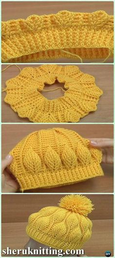 DIY Crochet Beanie Hat Free Patterns Baby Winter Hat Crochet Baby Hats Crochet Embossed Leaf Beanie Free Pattern – Croch… Check more at www. Crochet Beanie Hat Free Pattern, Bonnet Crochet, Crochet Baby Hats, Diy Crochet, Crochet Crafts, Crochet Clothes, Baby Knitting, Crochet Projects, Free Knitting