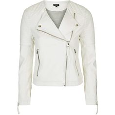 TopShop Pu Biker Jacket (450 DKK) ❤ liked on Polyvore featuring outerwear, jackets, white, white motorcycle jacket, quilted biker jacket, white biker jacket, white jacket and biker jacket