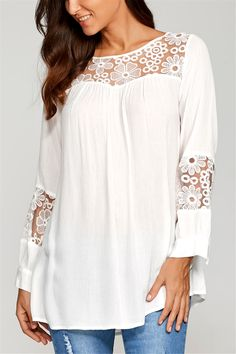 $13.88 Lace Insert Smock Blouse - White
