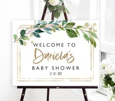 Greenery baby shower welcome sign editable rustic baby shower | Etsy