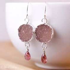 Silver Dusty Pink Druzy and Pink Tourmaline Earrings