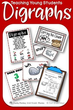 Young students need to master digraphs to become successful readers! This unit has everything you need to teach the digraphs ch, tch, sh, th, ph, and wh- from mini-lessons and word banks to independent work and literacy center activities. $