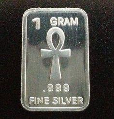 1 Gram Silver Bar Egyptian Ankh Cross Collectors Bullion .999 99.9% Fine Silver