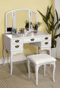Furniture Of America Vanity Table In White Finish Ashland Collection – Magnifique Furniture