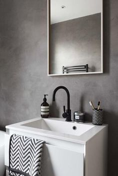 This small monochrome bathroom has been given a contemporary update Cement Bathroom, Bathroom Red, Boho Bathroom, Grey Bathrooms, Bathroom Colors, Bathroom Styling, Modern Bathroom, Small Bathroom, Cement Walls