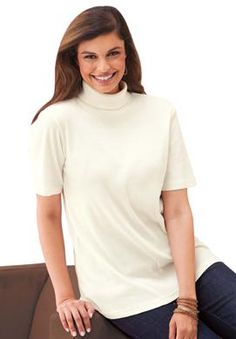 Top, turtleneck in soft ribbed knit | Plus Size Knit Tops & Tees | Woman Within