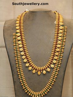 Traditional Kasu Mala and Beaded Haram - Jewellery Designs