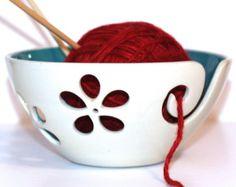 Andersen Pottery — Turquoise flower Yarn Bowl, Knitting Bowl, Crochet Bowl, Ready to Ship Crochet Bowl, Quick Crochet, Ceramic Bowls, Ceramic Pottery, Cotton Bowl, Pottery Gifts, Turquoise Flowers, Yarn Bowl, Pots