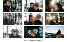 séance, photo, amoureux, couple, forêt, neige, sapin, coucher de soleil, lens flare