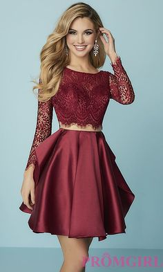 lace homecoming dresses Your inner glamourista is sure to love this short mock-two-piece homecoming dress. Lightly fringed scallops trim the long sheer lace sleeves and adorn th Long Sleeve Homecoming Dresses, Two Piece Homecoming Dress, Hoco Dresses, Cute Formal Dresses, Banquet Dresses, Pretty Dresses, Two Piece Dress, The Dress, Dress Long