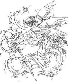 Angel Fantasy Myth Mythical Legend Wings Coloring Pages Colouring