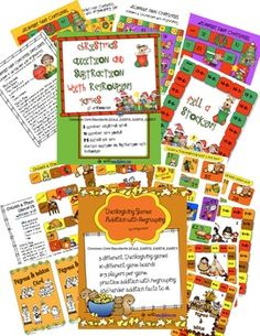 Thanksgiving/ Christmas Games-Addition and Subtraction with Regroup  7 different games covering Common Core Standards 2.OA.2, 2NBT.5, 2NBT.6, and 2NBT.7All full color games are print and play.