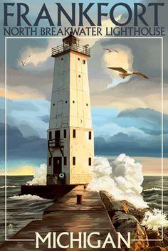 Frankfort Lighthouse, Michigan - Lantern Press Poster