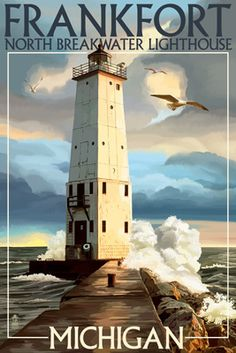 Frankfort Lighthouse, Michigan - Lantern Press Poster
