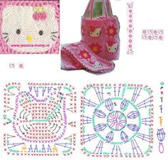 Hello Kitty Granny Square crochet ☀CQ #crochet. Thanks so much for sharing! ¯\_(ツ)_/¯