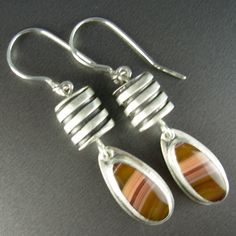 Laguna agate, designer hollowform sterling beads, dangle wire sterling silver earrings * Chelle' Rawlsky * one of a kind artist created…