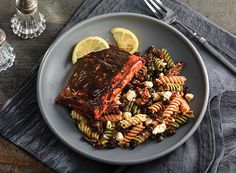 Sweet-and-Sour Salmon with Black Bean and Pasta Salad from Publix Aprons