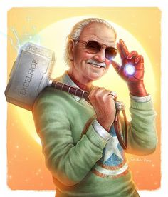 """Happy birthday to the late and great Stan Lee! - """"Excelsior : Stan Lee by SpiderWee Marvel Dc Comics, Marvel Avengers, Avengers Series, Marvel Films, Marvel Funny, Marvel Memes, Marvel Cinematic, Marvel Heroes Characters, Tumblr Book"""