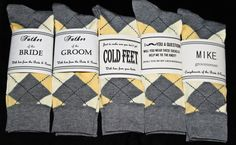 Just In Case You Get Cold Feet- Yellow and Grey Socks & Label Groom Gift These are cool. You should do this! Wedding Socks, Wedding Pins, Our Wedding, Wedding 2017, Wedding Ideas, Yellow Grey Weddings, Yellow Wedding, Wedding Colors, Groomsmen Socks