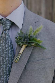 Boutonniere with eryngium, dusty miller, gunnii eucalyptus and bunny tail grass. By Cincinnati wedding florist Floral Verde LLC.