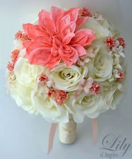 coral roses bouquet ivory orchids - Google Search