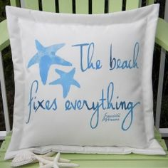Beach Fixes Everything Blue Square Outdoor Pillow