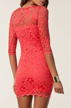Lacey coral dress