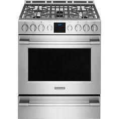 kitchenaid 30 inch 5 burner freestanding double oven range with
