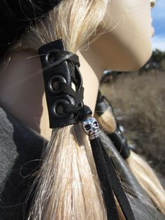 This Black Leather Hair Wrap Skull Beaded Tie Ponytail Holder Biker Rocker Goth Hair Extensions is just one of the custom, handmade pieces you'll find in our ties & elastics shops. Style Emo, Black Leather Corset, Leather Cuffs, Leather Bag, Goth Hair, Beaded Skull, Biker Girl, Biker Chick, Ponytail Holders