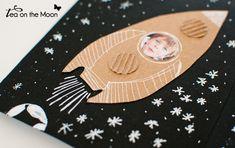 postal astronautas, invitación cumpleaños del espacio