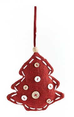 GLUCKSTEINHOME Red Burlap Ornament