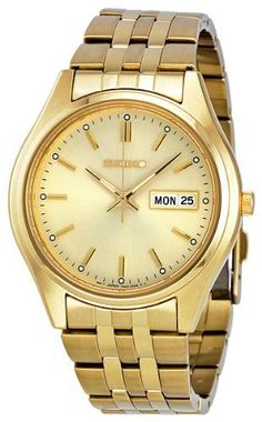 Seiko Men's SGGA18 Gold-tone Stainless Steel Watch Seiko. $103.01. Case diameter: 36 mm. Gold-plated stainless steel case. Water-resistant to 30 meters(99 feet). Quartz movement. Hardlex. Save 71%!