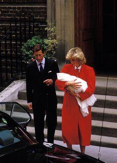 September 16, 1984: Prince Charles Princess Diana take their newborn son, Prince Harry, home to Kensington Palace from St. Mary Hospital.