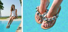 Brigitte Flip-flop! Little Butterflies are flying over light blue and baby pink skies! BonbonSandals