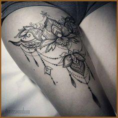 - Tattoos - Tattoo Designs For Women Mandala Thigh Tattoo, Tattoo Henna, Lace Tattoo, Henna Tattoo Designs, Tattoo Designs For Women, Tattoos For Women, Tattoo Ideas, Thigh Garter Tattoo, Lace Garter Tattoos